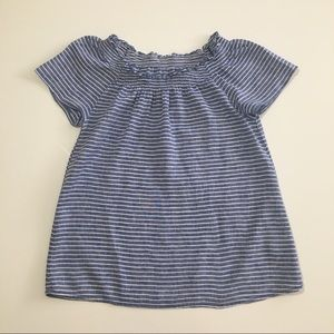 Beautiful Blue Striped Off The Shoulder Top